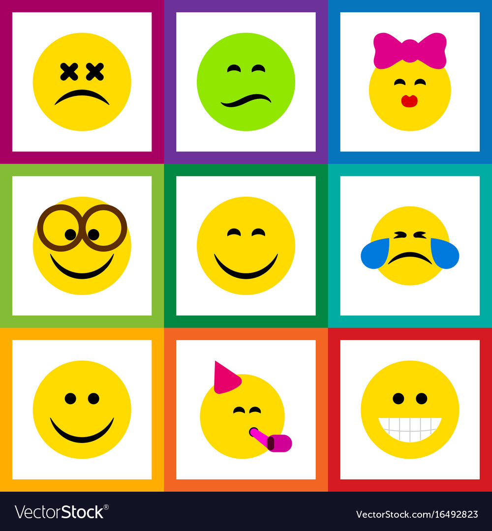 Flat icon face set of caress frown party time