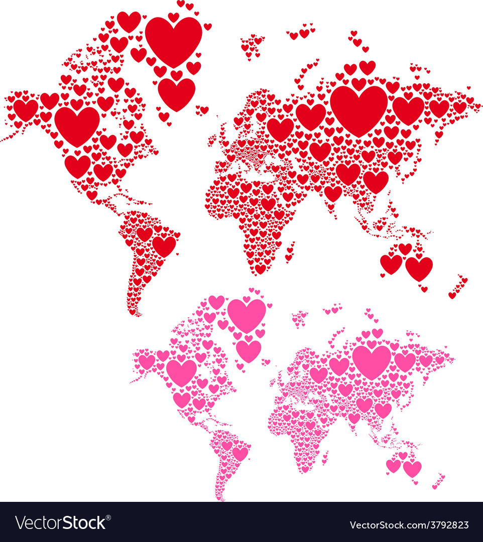 Love World Map With Red Hearts Royalty Free Vector Image