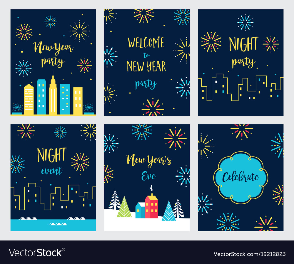 New year eve fireworks celebration cards and