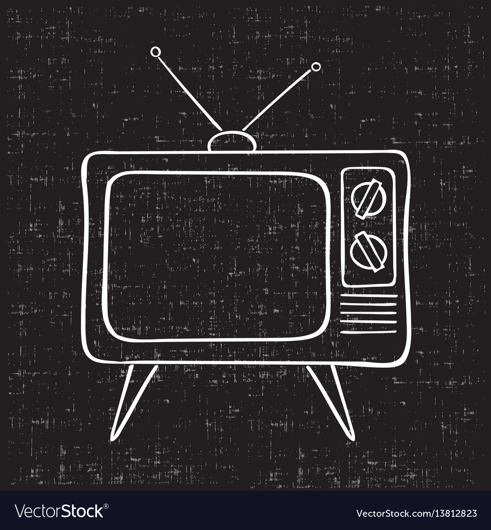 Old Tv Set Hand Drawn Vintage Royalty Free Vector Image