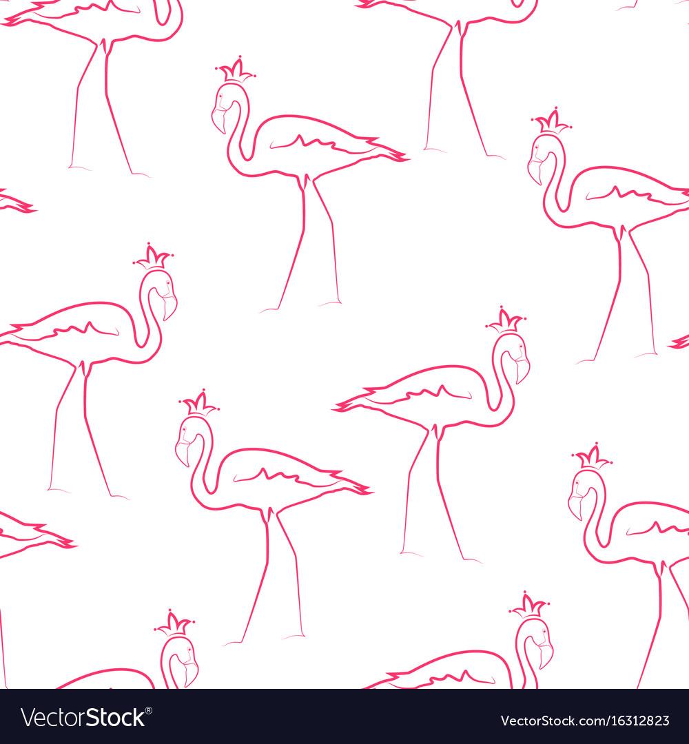 Pink flamingo birds wearing crown seamless pattern