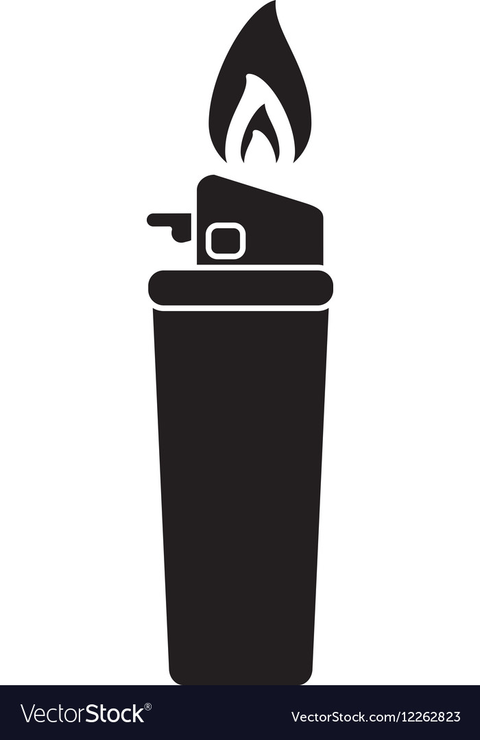 Silhouette gas lighter flame icon