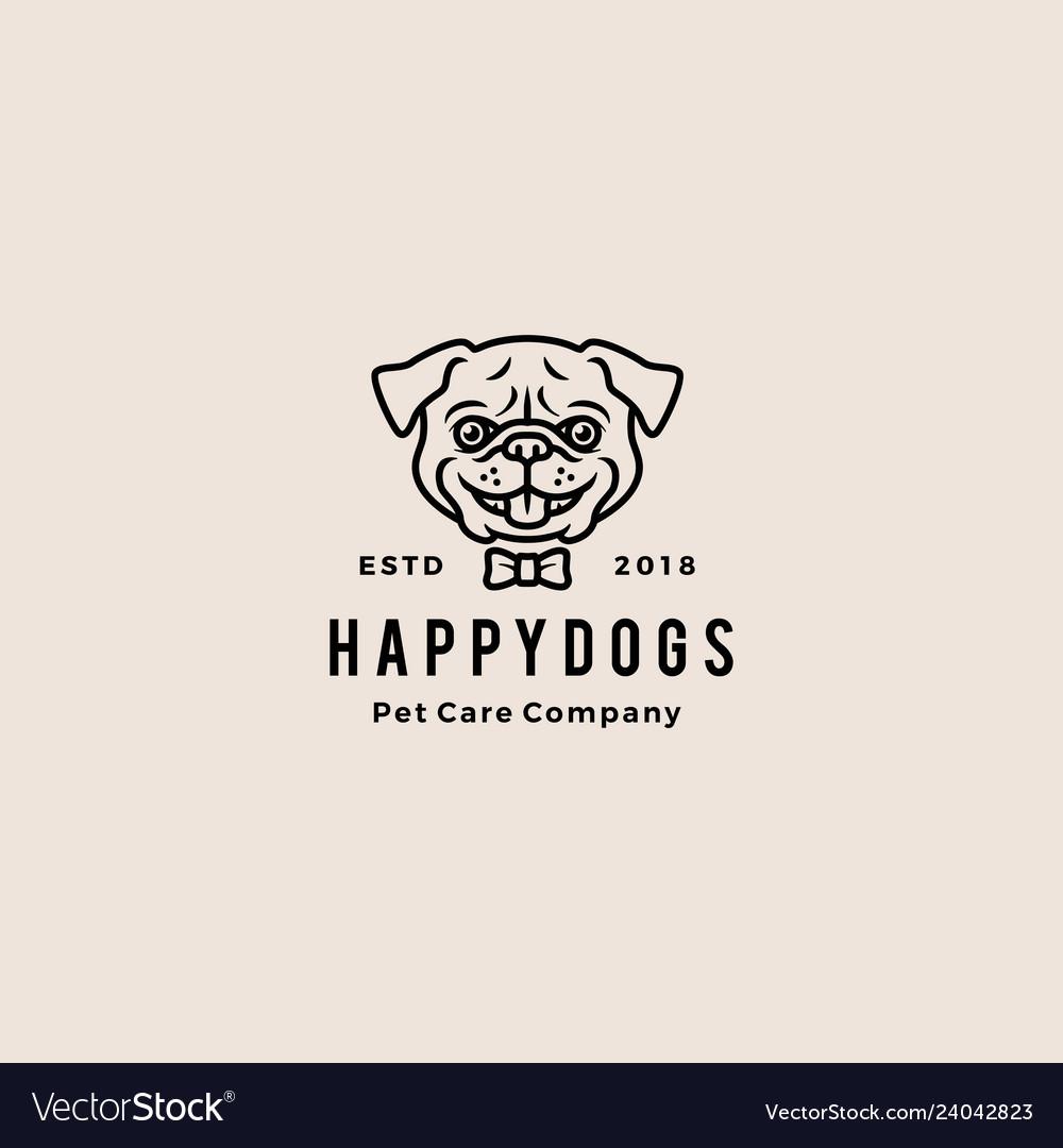 Smiling pug dog smile hipster retro vintage