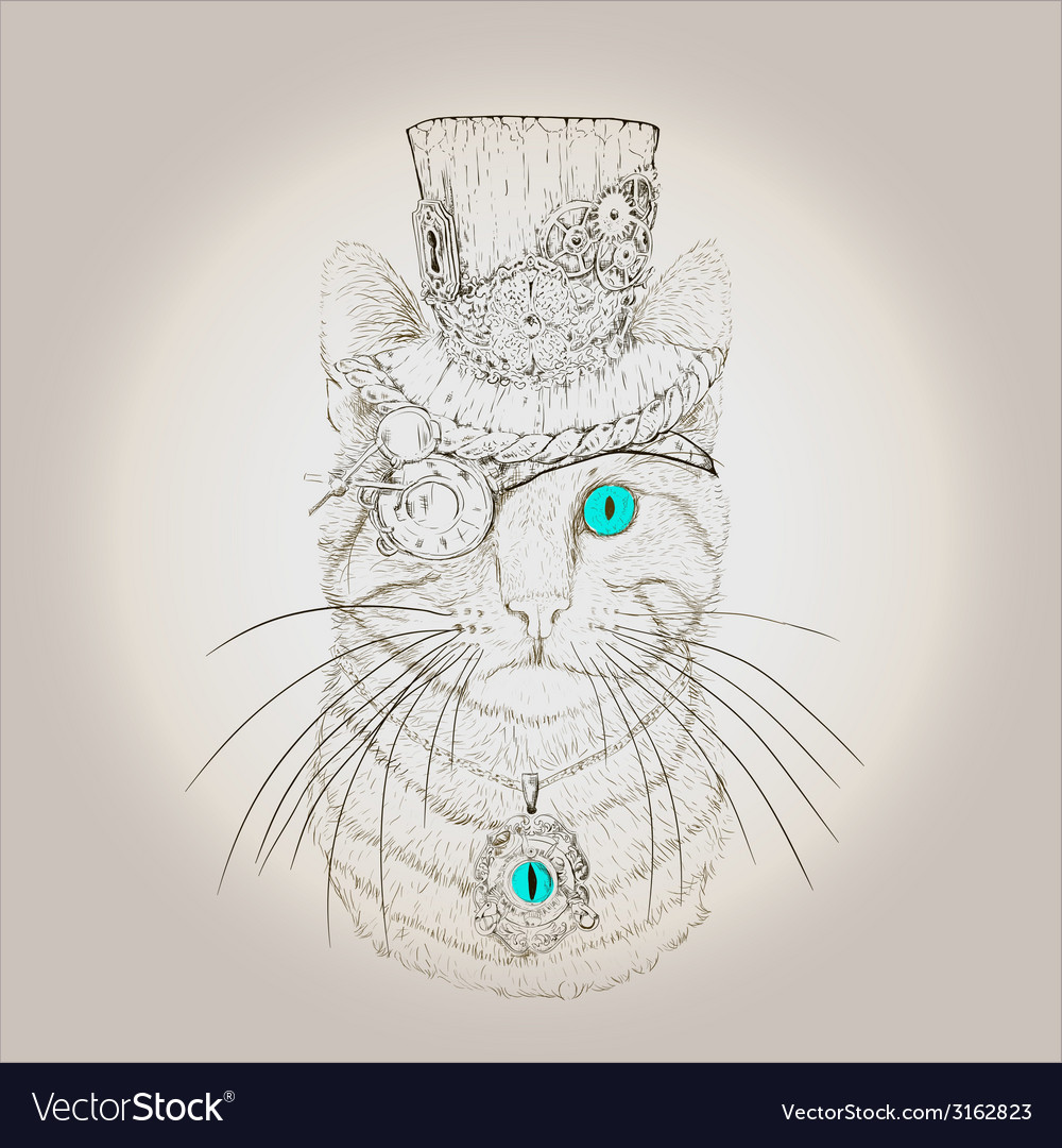Steampunk Cat Vintage Style vector image