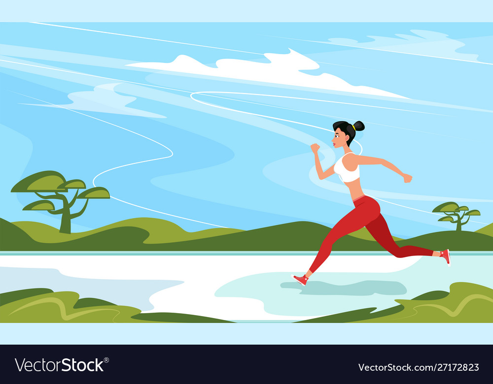 Strong athletic woman sprinter running outdoors