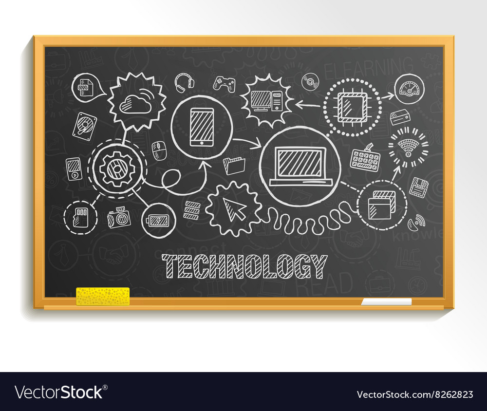 Technology hand draw integrate icons set on school