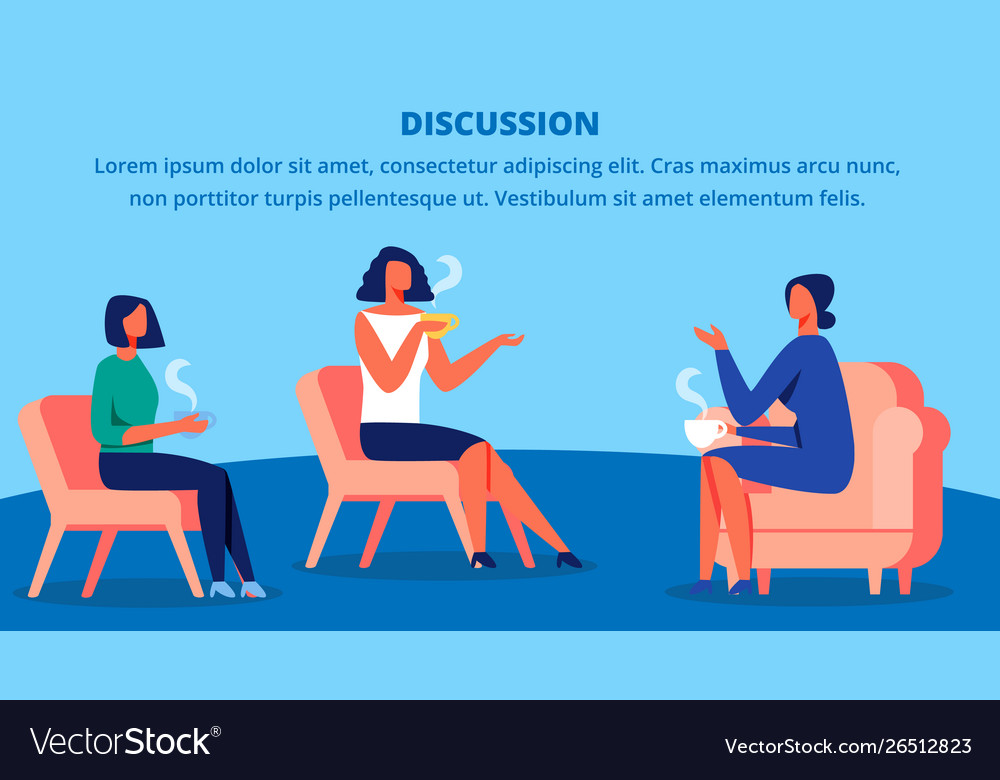 Three women in red chairs drink tea and discussion