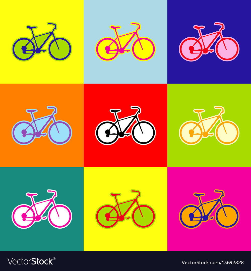 Bicycle bike sign pop-art style colorful vector image