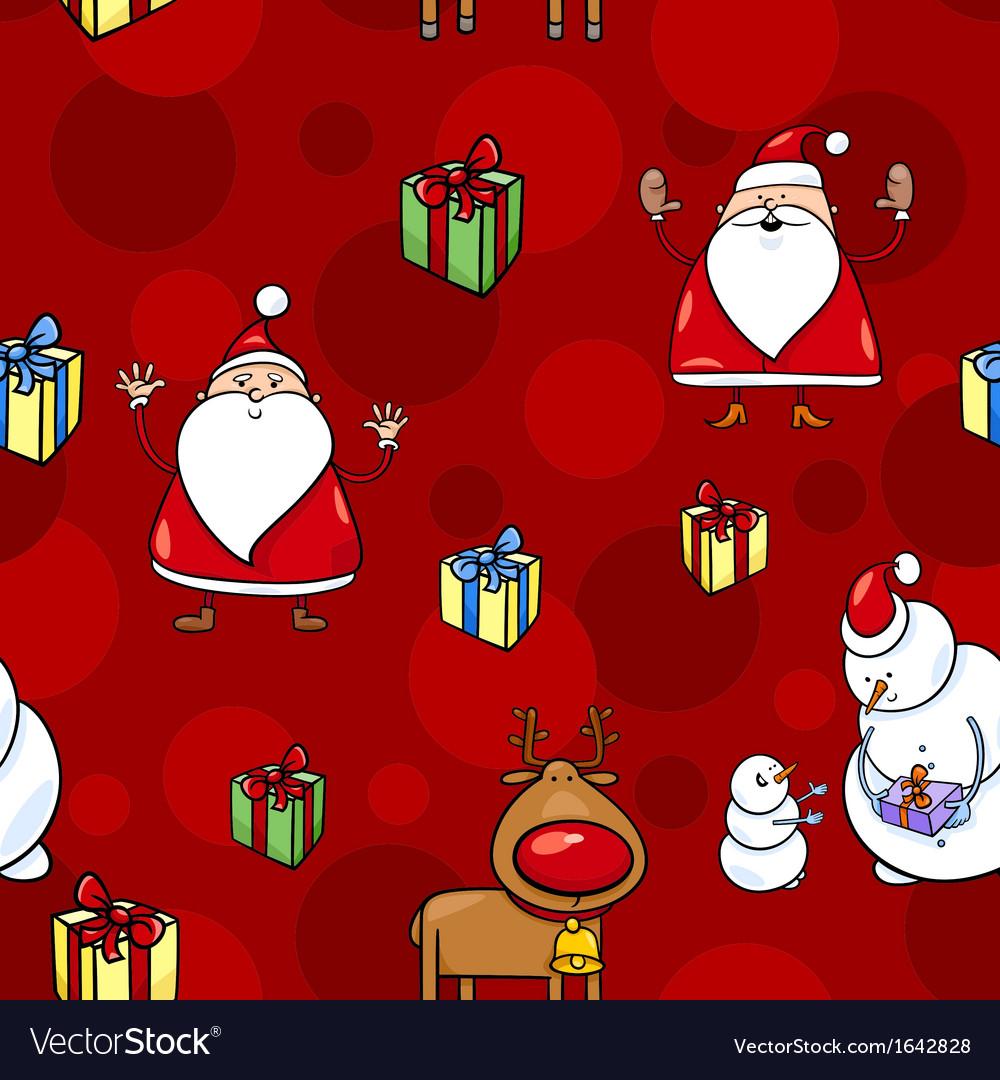 Christmas cartoon seamless pattern vector image