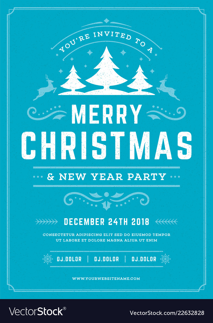 Christmas party invitation retro typography and