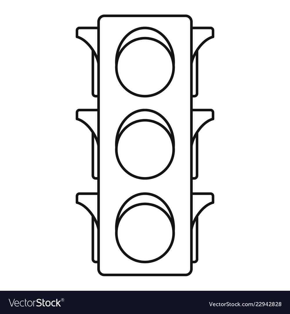 classic traffic lights icon outline style vector image