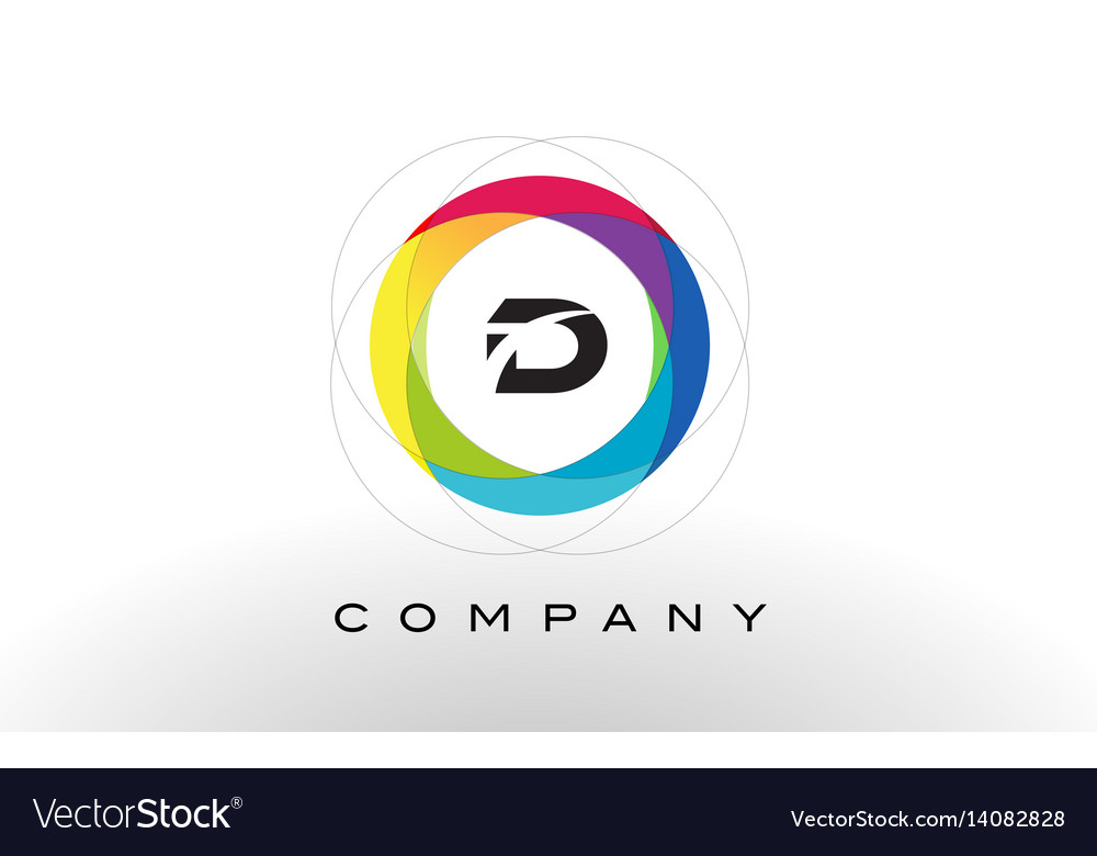 D letter logo with rainbow circle design