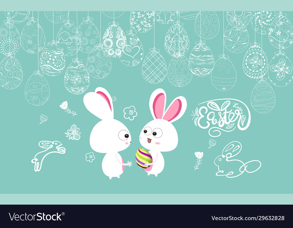 Easter frame with easter eggs and bunny hand drawn