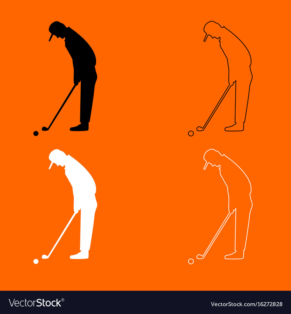 Golfer black and white set icon