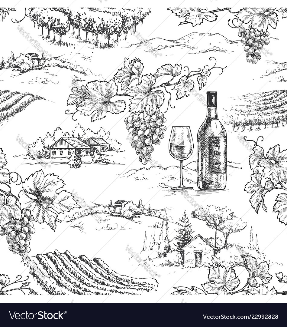 Monochrome seamless pattern with grapes and
