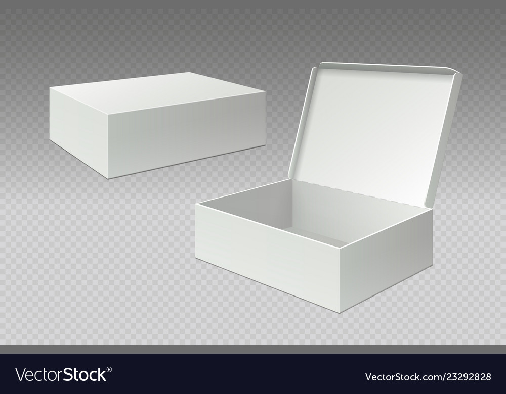 Realistic packaging boxes open mock up blank