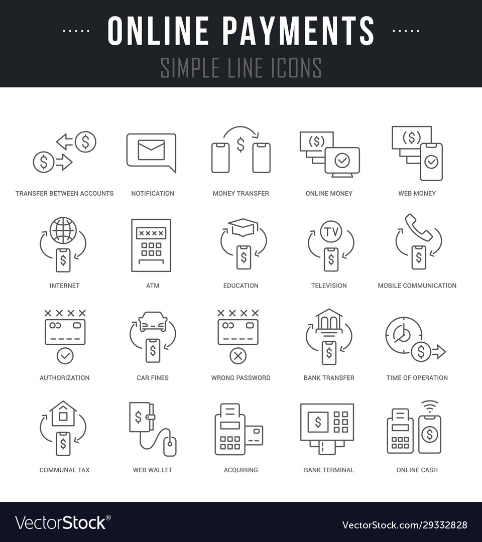 Set line icons online payments