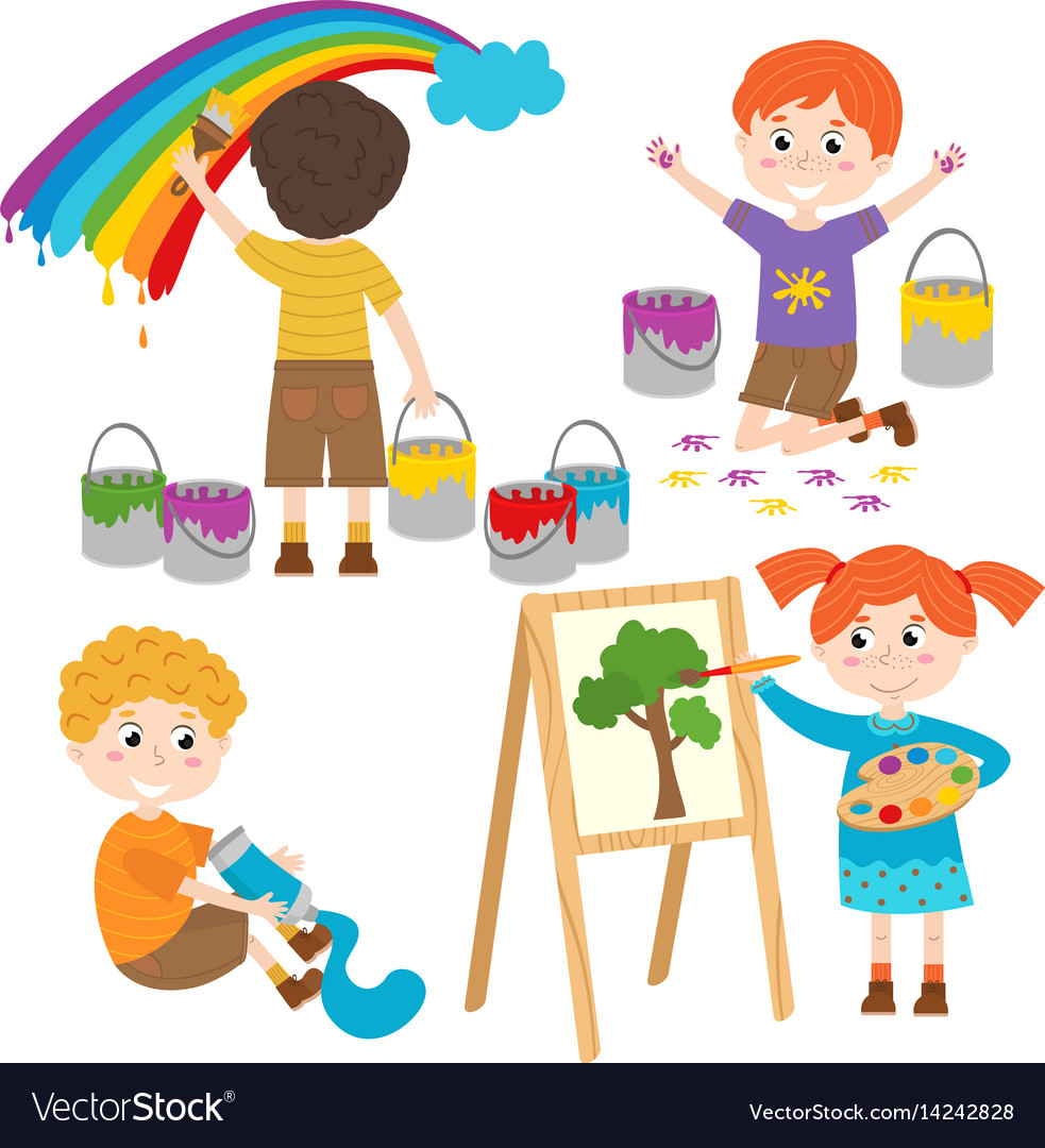 set of isolated children artist part 2 royalty free vector