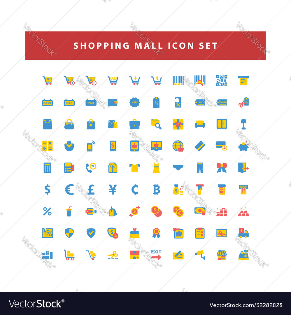Shopping and mall icon set with flat color style