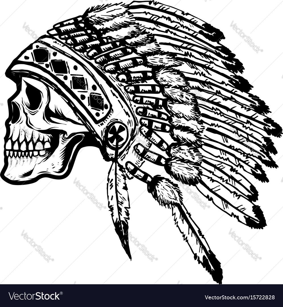 Skull in native american indian chief headdress
