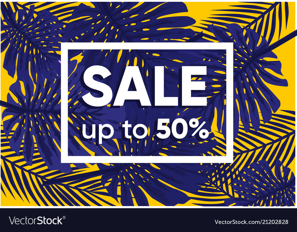 Summer sale banner with exotic jungle plant