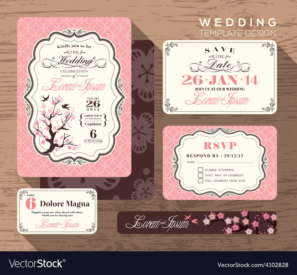Vintage floral wedding invitation set Template