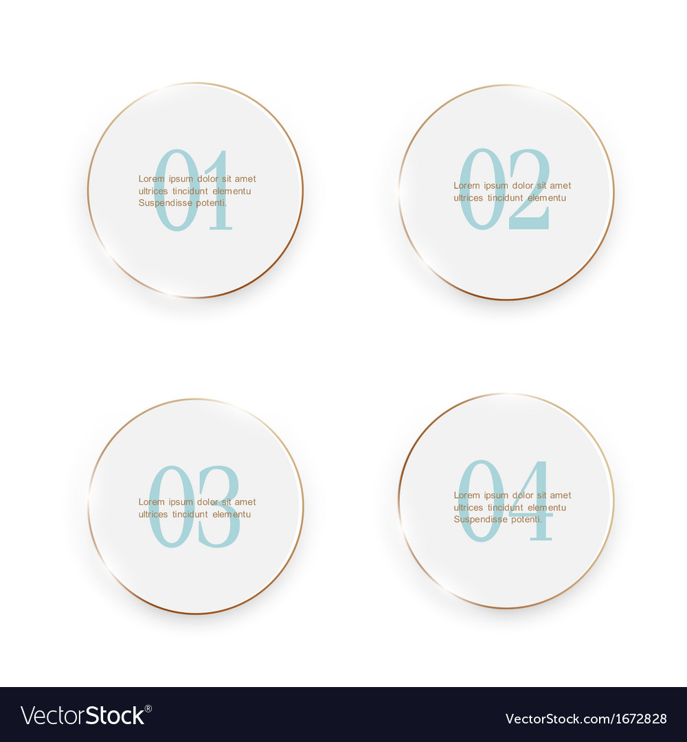 White buttons number options banners