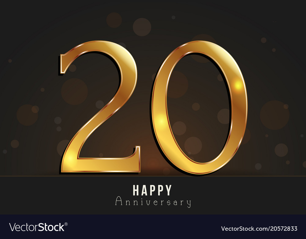 20 years happy anniversary card vector image