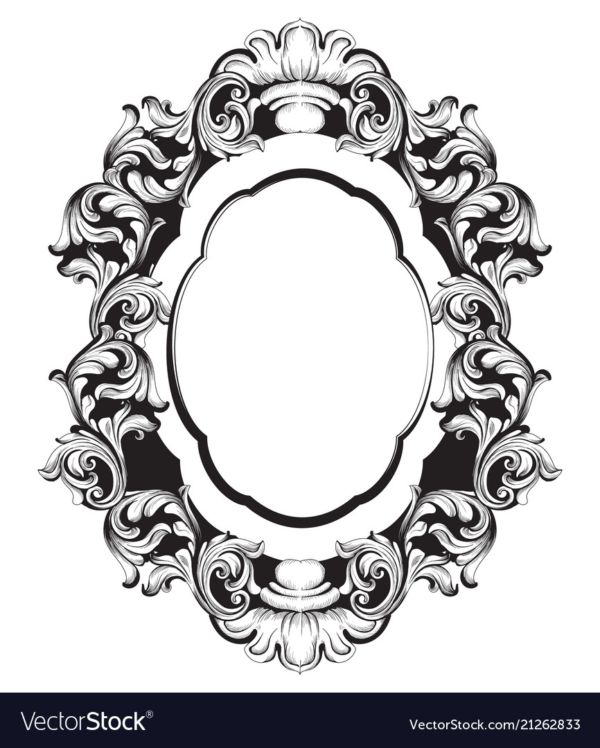 Baroque mirror frame line art french