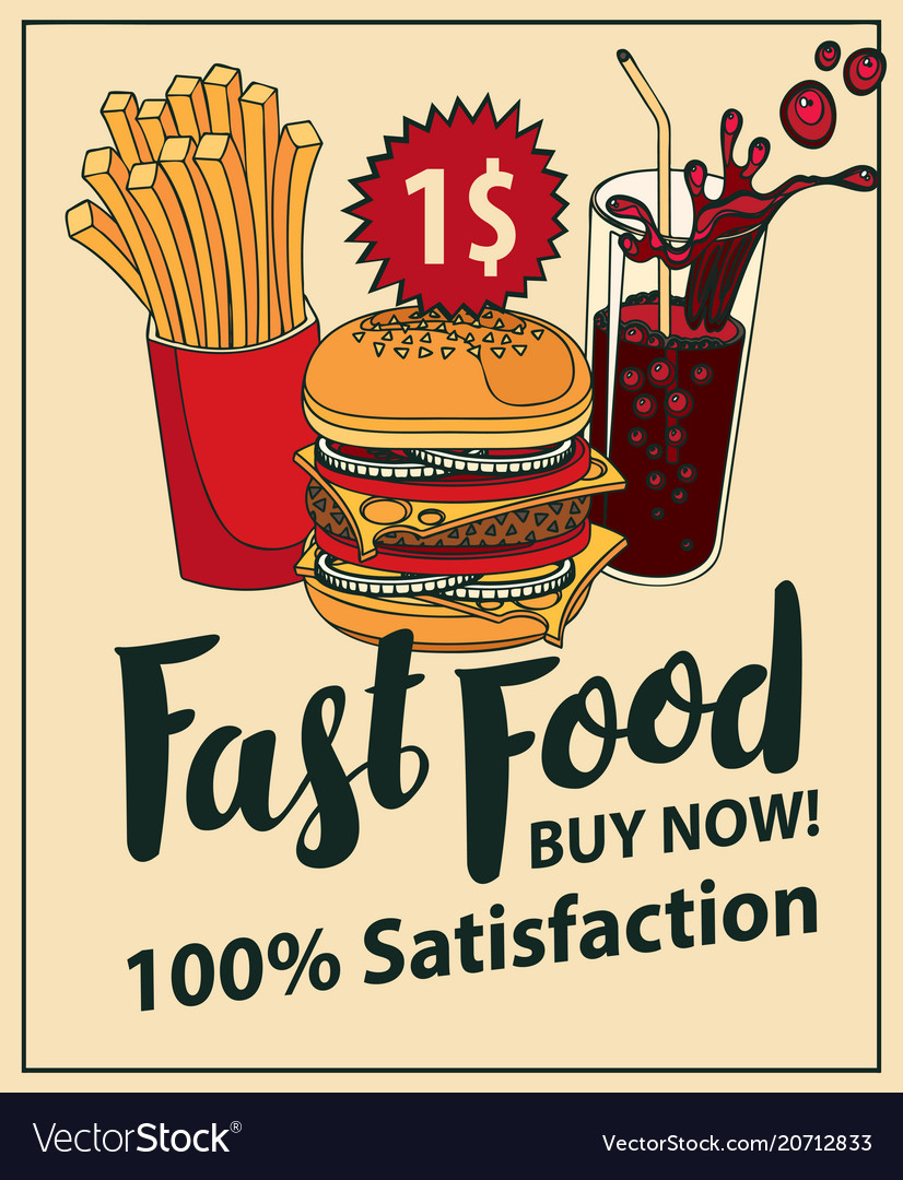 Fast food banner with cola hamburger and fries