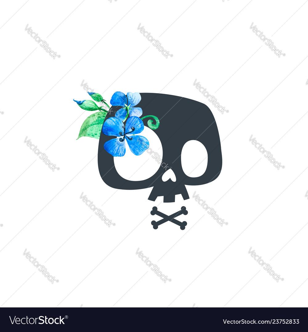Floral human skull black blue print badge flower