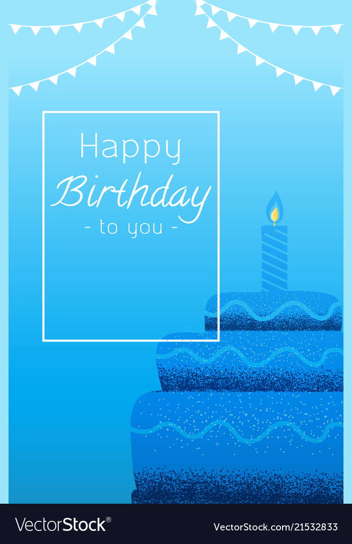 Greeting Card Happy Birthday Cake With Candles On Vector Image
