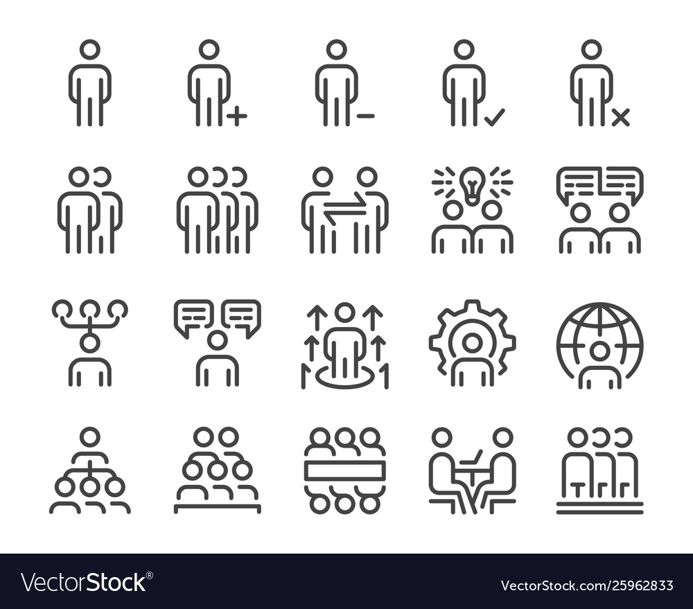 Human resource and business people line icon set