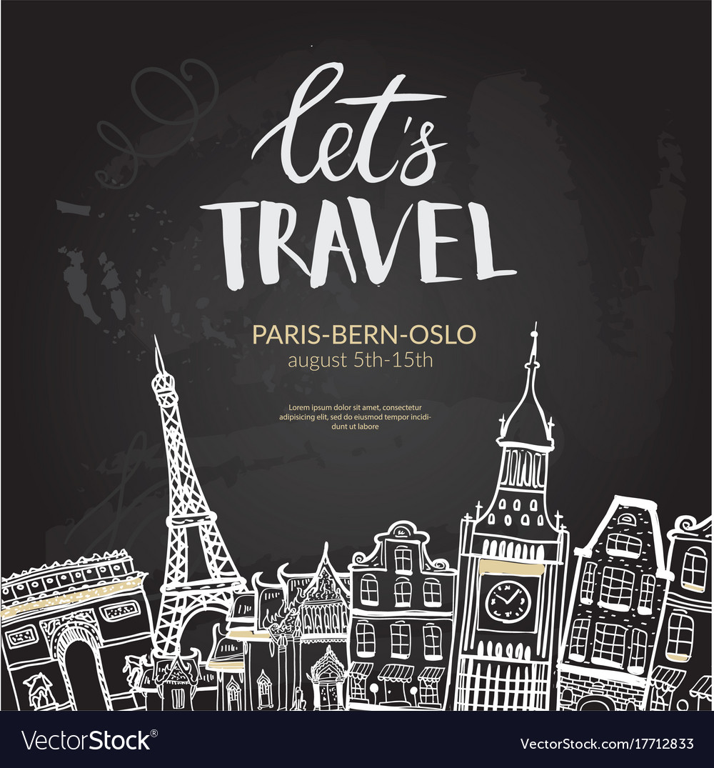 Let s travel lettering quote typographic banner
