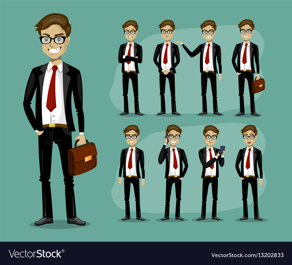 Man in a business style set of poses and emotions