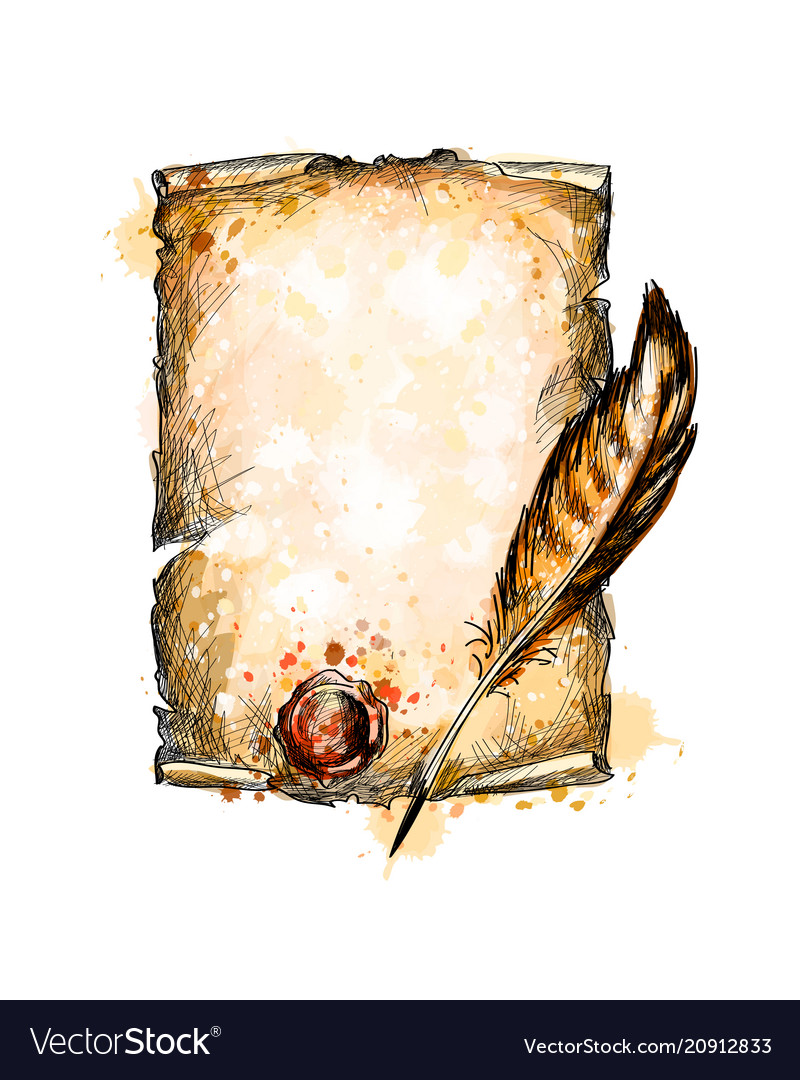 Old blank scroll paper and feather pen vector image
