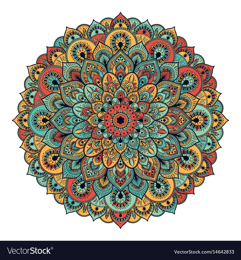 Ornament color card with mandala vintage vector image