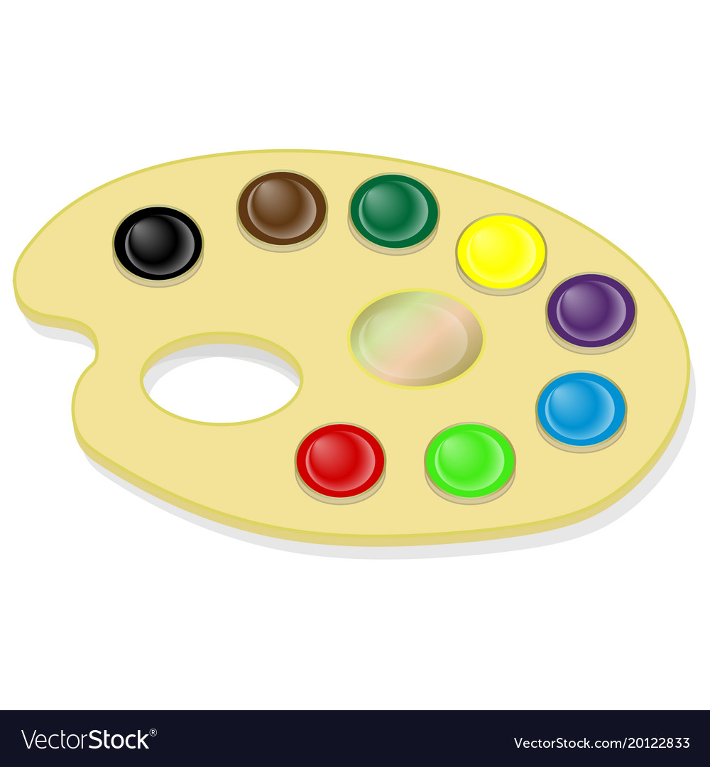 Palette with paints and brush isolated