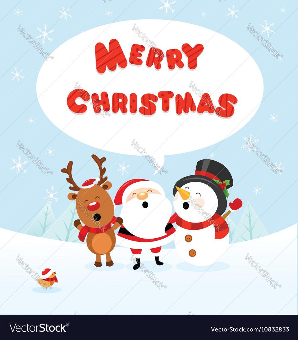 Santa Snowman and Reindeer Celebrating Christmas