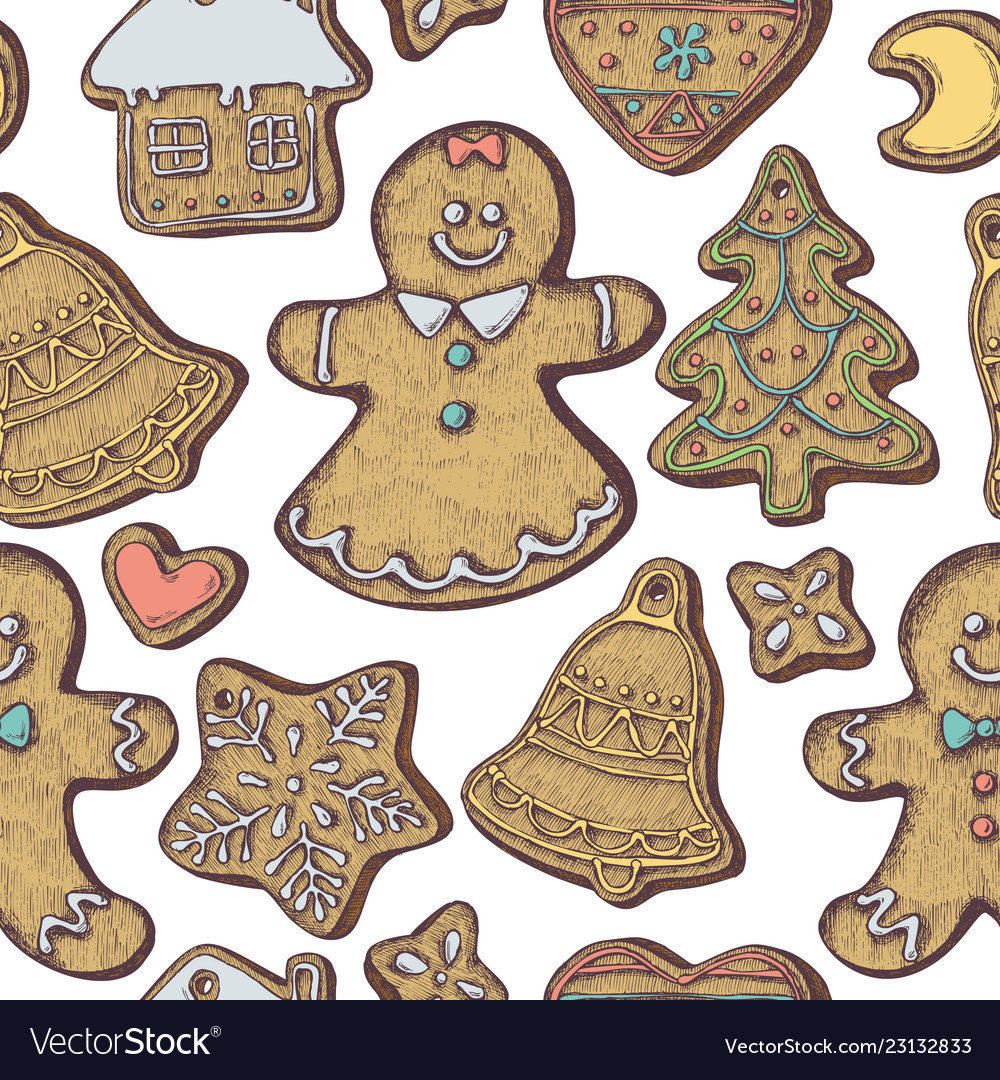 Seamless pattern with colored gingerbread men