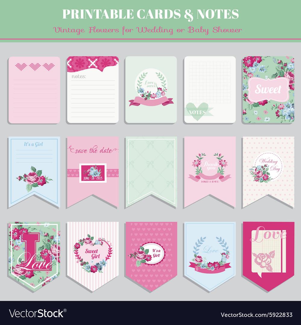 Vintage Flowers Card Set - for birthday wedding