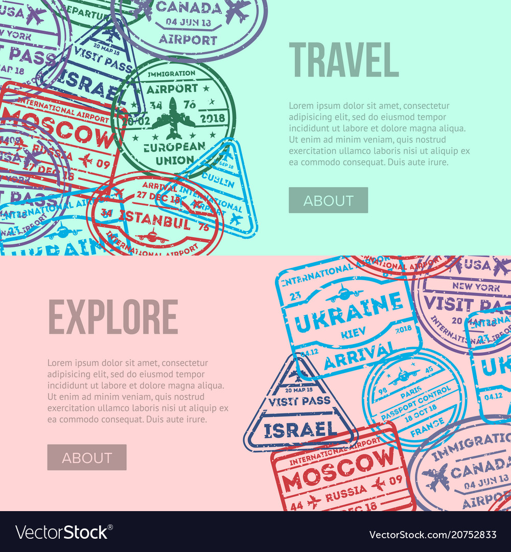 Worldwide traveling flyers with visa stamps