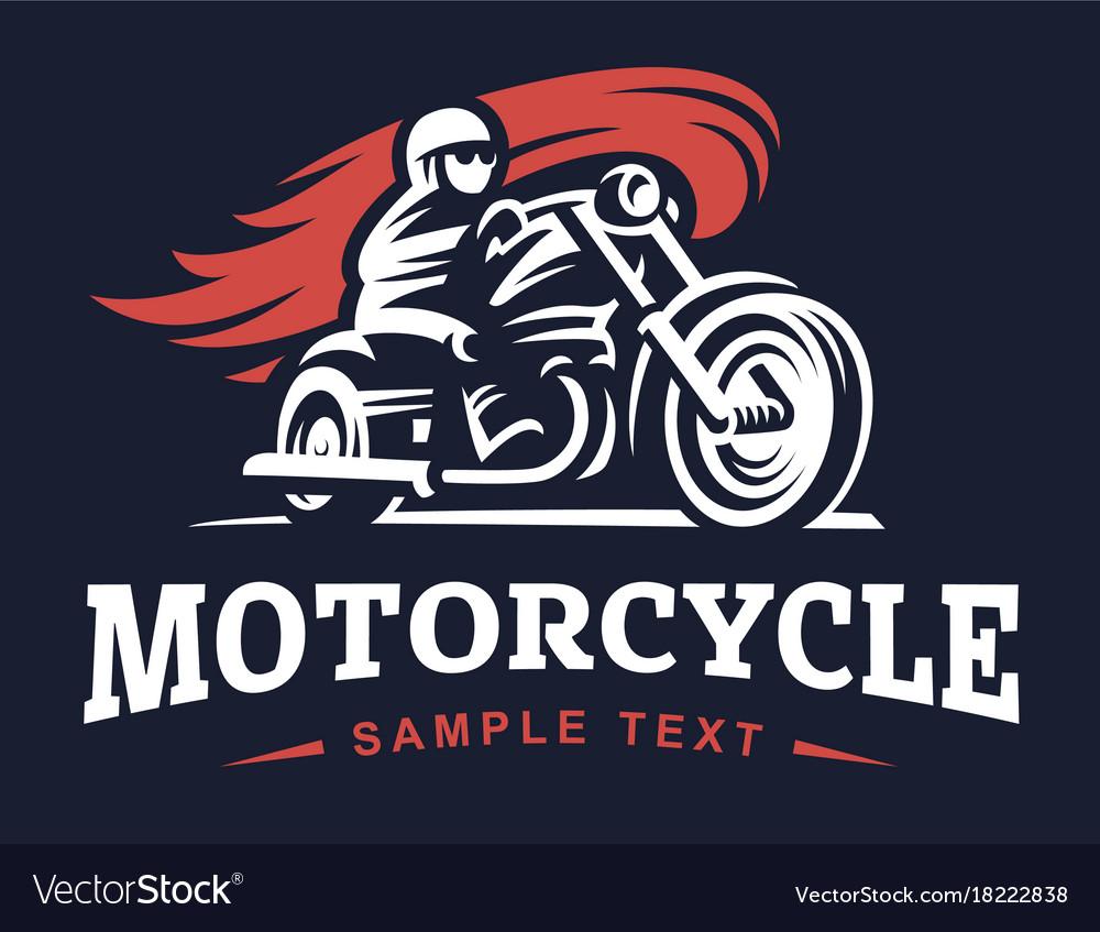 Biker fire motorcycle retro emblem and label