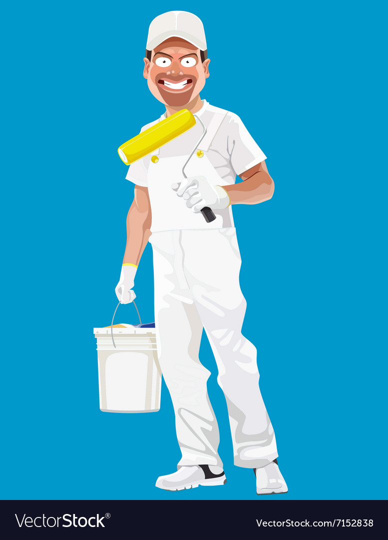 Cartoon smiling man painter with tools
