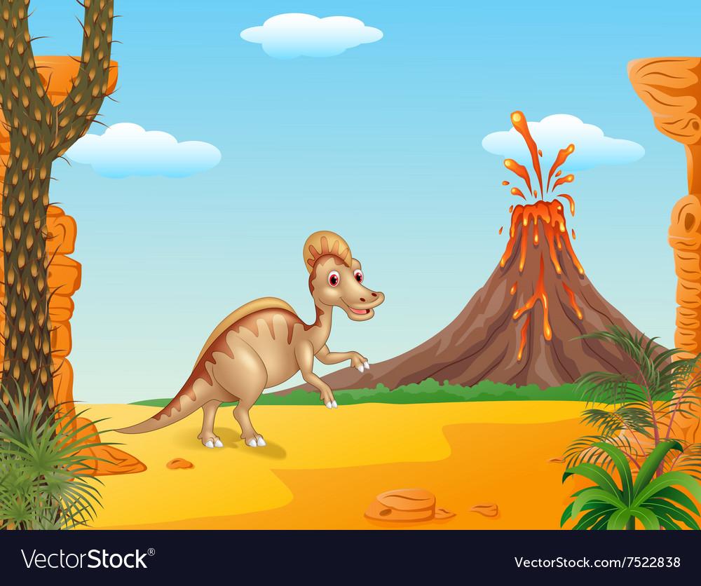 Duck billed hadrosaur in prehistoric background