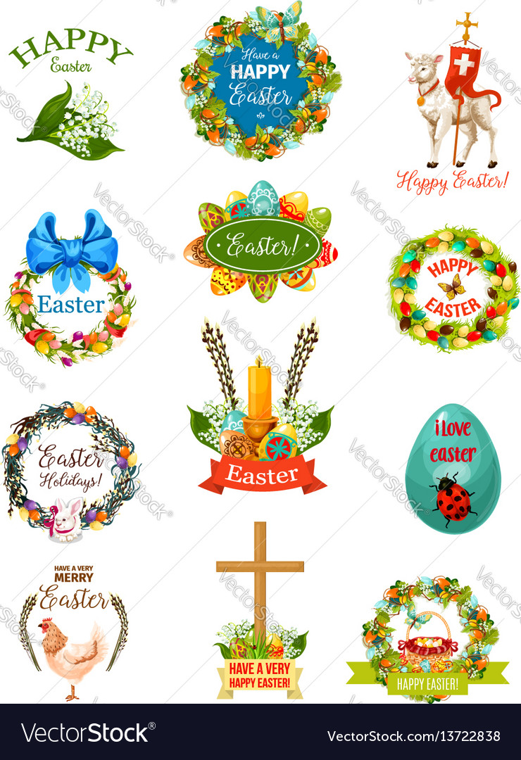 Easter cartoon label and badge set design