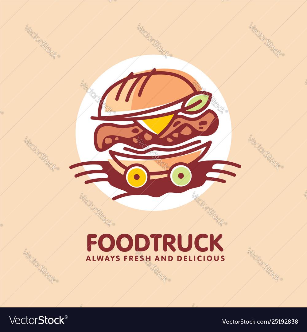 Food truck logo design idea with juicy burger