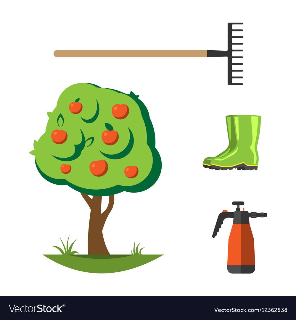 Garden equipment flat set vector image