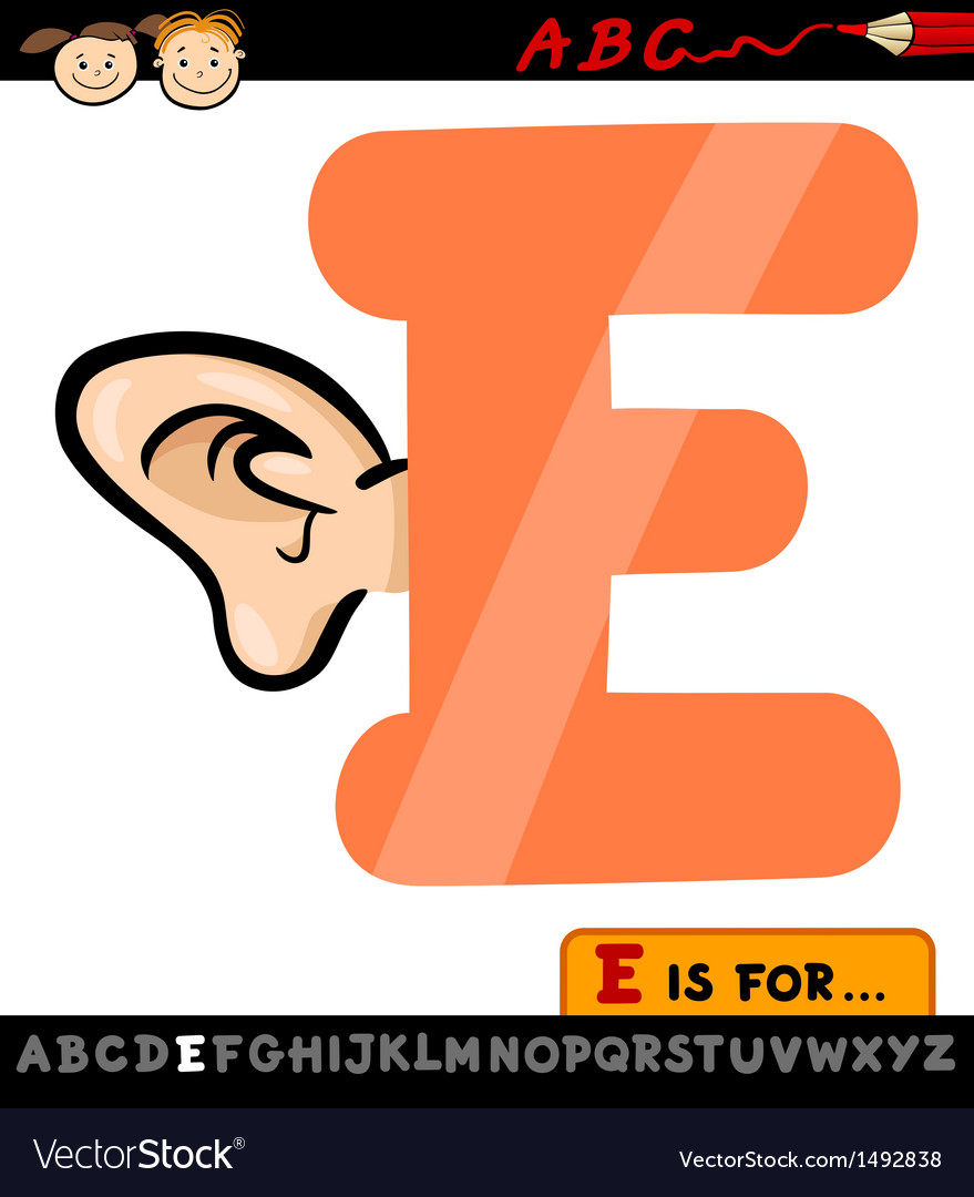 Letter e with ear cartoon vector image