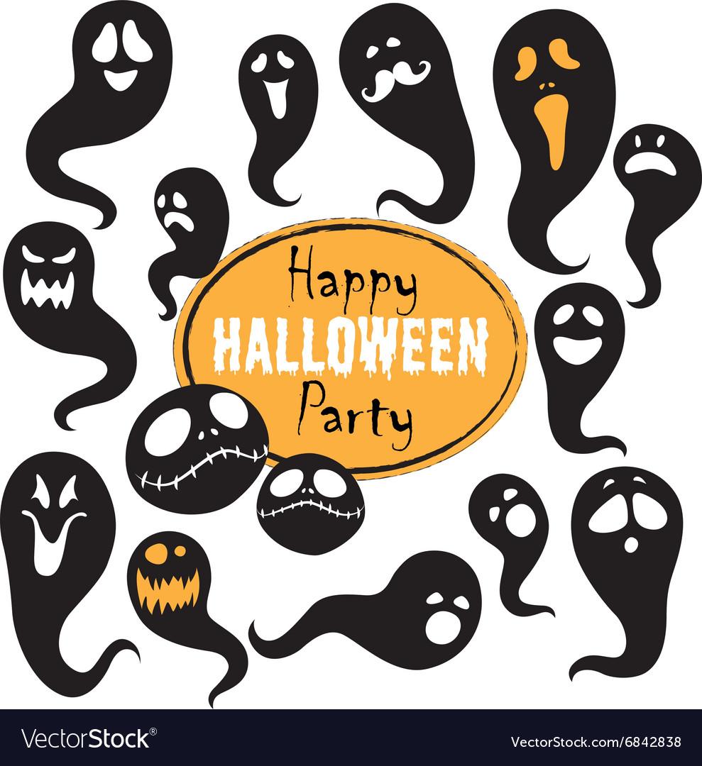Set of vintage happy halloween flat ghosts
